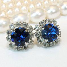 Royale Blue Stud Earrings Cobalt Capri Blue Crystal by TIMATIBO