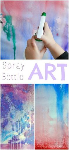 DIY Kids Spray Bottle Art Experiment with abstract art using a spray bottle and paints. There are 2 methods for making kids' spray bottle art: Spraying diluted paint Spraying water at watercolor paper