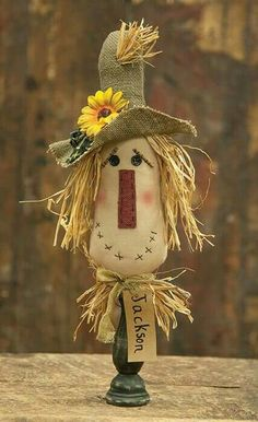 Jackson the Scarecrow Doll sits on top of a primitive black spindle and is adorned with a floppy burlap hat and sunflower. Fun Primitive Dolls for your Fall and Halloween Décor. Bed Spring Crafts, Fall Crafts, Holiday Crafts, Scarecrow Crafts, Fall Scarecrows, Primitive Scarecrows, Scarecrow Doll, Diy Halloween, Halloween Decorations