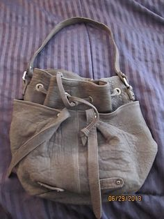 Tylie Malibu GRAY LEATHER Rare Pebbled Bag purse Must Have!!
