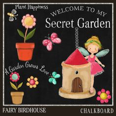 Chalkboard Clipart Fairy and Birdhouse Chalk Drawing-Card Design,- Spend 20 dollers use code TAKE50OFF Get half Price by DigitalPaperCraft on Etsy