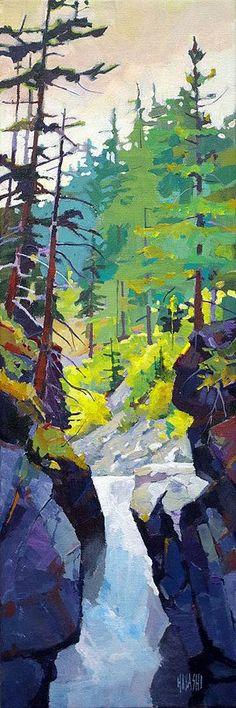 Looks like Canadian art 'Nairn Falls' x Acrylic on Canvas Artist Randy Hayashi Watercolor Landscape, Abstract Landscape, Landscape Paintings, Watercolor Paintings, Quote Paintings, Canvas Paintings, Painting Art, Watercolour, Canadian Painters