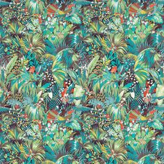Matthew Williamson in collaboration with Osborne & Little. The Jungle Beat fabric from the 2015 Samana collection. An all-over pattern of dense jungle populated with stylised strutting wildlife, printed on linen union.