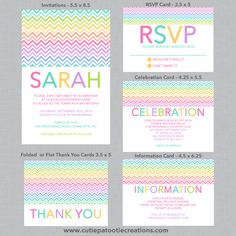Chevron Rainbow Theme Bat Mitzvah Invitations, USE for ANY EVENT by OneWhimsyChick on Etsy