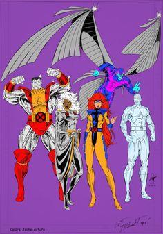 Gold Jean Grey Storm Archangel Iceman Colossus by on DeviantArt Marvel Xmen, Marvel Comics Art, Marvel Comic Books, Marvel Characters, Marvel Heroes, Comic Books Art, Comic Art, Iceman Marvel, Best Comic Series