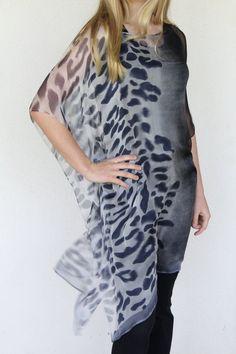 Silk Kaftan, Caftan Black Grey, Animal Print Black and Gray Caftan,  Cover Up, Silk Blouse, Womens Dress