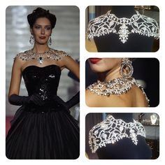 Handmade shoulder necklace by Swarovski - Wow.