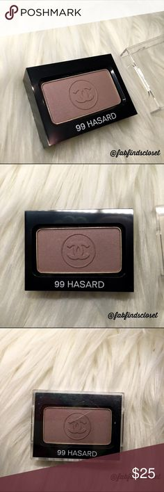 CHANEL AUTHENTIC single eyeshadow in HASARD Item: AUTHENTIC CHANEL single eyeshadow in HASARD  Color: HASARD see pic  Size: 0.07 OZ  Condition: BRAND NEW. NEVER BEEN USED OR SWATCHED. What you see in pic is what it comes with. No dust bag or box.  No trades. OPEN TO OFFERS ONLY THRU OFFER BUTTON. CHANEL Makeup Eyeshadow