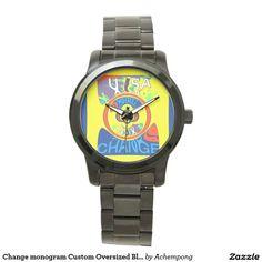 Change monogram Custom Oversized Black #Bracelet Wrist Watches
