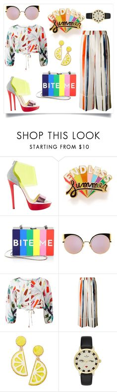 """""""~ES~"""" by eminad ❤ liked on Polyvore featuring Christian Louboutin, ban.do, Milly, Fendi, Mara Hoffman, Sonia Rykiel, Celebrate Shop and Kate Spade"""