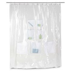 Vinyl Shower Curtain with Mesh Pockets