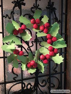 Calendrier de l'avent couronne de houx   Ciloubidouille Homemade advent calendar - Paper Holly Leaf - Christmas