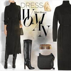 Fall Trend: Long Sleeve Dresses by fatime-style-art on Polyvore featuring Lemaire, Gianvito Rossi, The Row, Jennifer Fisher, Chloé, Sarah Jessica Parker, contest and longsleevedress