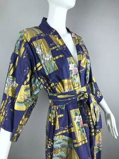 ViNtAgE Asian Chinese Painted Robe Kimono by MothFoodVintage