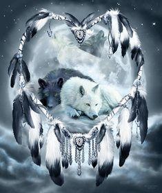 Carol Cavalaris Mixed Media - Dream Catcher - Yin Yang Wolf Mates 2 by Carol Cavalaris Native American Wolf, Dream Catcher Native American, Wolf Photos, Wolf Pictures, Fantasy Wolf, Dark Fantasy Art, Anime Wolf, Yin Yang Wolf, Wolf Mates