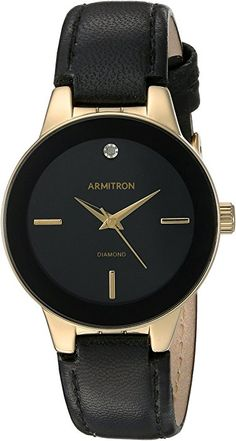 Amazon.com: Armitron Women's 75/5410BKGPBK Diamond-Accented Gold-Tone and Black Leather Strap Watch: Watches