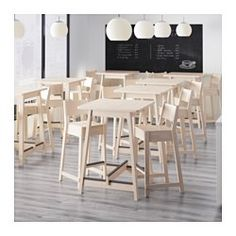 IKEA - NORRÅKER, Bar table, Durable and sturdy; meets the requirements on furniture for public use.Every table is unique, with varying grain pattern and natural color shifts that are part of the charm of wood.Rounded corners minimizes the risk of a child getting hurt.