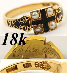 Antique Victorian Era 18K Gold Mourning Ring Enamel Seed Pearls Engraved | eBay