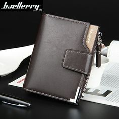 6.19$  Buy here - Hot Sale Quality Soft Leather Men Wallets Vertical Business Leisure 3 Folds Hasp Zipper Credit Card Holder Wallet Free Shipping   #aliexpress