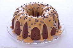 Chocolate chip peanut butter pound cake with peanut butter glaze