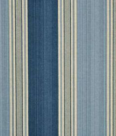 Waverly Spotswood Stripe Porcelain - laundry room and mudroom valance. Drapery Fabric, Fabric Decor, Fabric Design, Blue And White Wallpaper, Leather Sectional Sofas, Living Room Accents, Coaster Furniture, Cool Fabric, Striped Fabrics