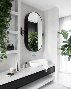 Bathroom + Modern Bathroom + Bathroom Design + Black and White Bathroom Bad Inspiration, Bathroom Inspiration, Beautiful Bathrooms, Modern Bathroom, Green Bathroom Tiles, Moroccan Bathroom, Modern White Bathroom, Bathroom Black, Bathroom Plants