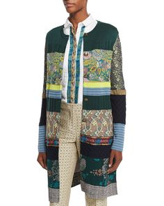 Button-Front Intarsia-Knit Sweater Coat, Green - Etro