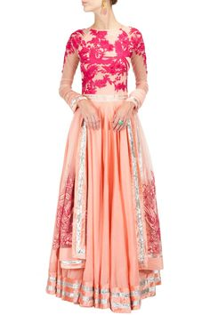 VARUN BAHL Peach and fuschia embroidered anarkali kurta set available only at Pernia's Pop-Up Shop.