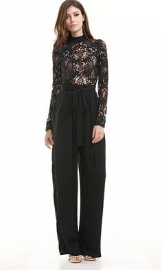 Broken Promises Black Sheer Lace Long Sleeve Mock Neck Tie Belt Straight Leg Jumpsuit