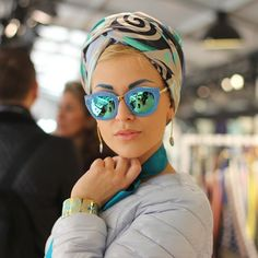 """allaroundeve: """"The so called 'these glasses are everything' picture. #FREYWILLE #portrait #sunglasses #turbanation #blue #pfw #Paris #evaanakazic #jewellery #turban """""""