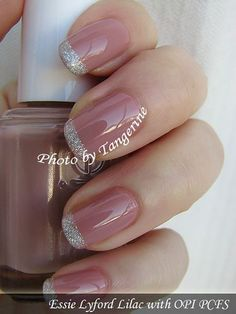 Pink nails with silver glitter tips