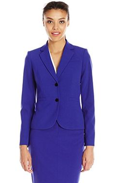 Calvin Klein Women's Jacket Lux, Byzantine, 2 ❤ Calvin Klein Women's Suits