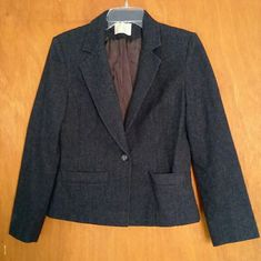 Wool Woman's Blazer Excellent condition! Very nice charcoal grey wool blazer, is just too big for me. Single button closure and two front pockets. Size 8. Pendleton Jackets & Coats Blazers