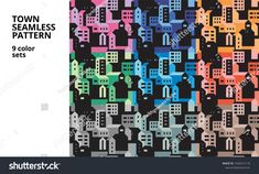 Seamless pattern with town in 9 color sets
