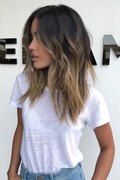 Ombre medium to long hair styles - ombre balayage hairstyles for women 2019 - pag. , medium to long hair styles - ombre balayage hairstyles for women 2019 - pag. medium to long hair styles - ombre balayage hairstyles for wo. Brown Hair Balayage, Hair Color Balayage, Balayage Highlights, Balayage Hair Brunette Medium, Balyage Brunette, Hair Color Ideas For Brunettes Balayage, Dark Balayage, Hair Styles Brunette, Medium Brown Hair With Highlights