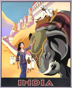 Travel Art India Poster Vintage Elephant Print by Blivingstons Poster Art, Retro Poster, Kunst Poster, Vintage India, Photo Vintage, Vintage Art, Vintage Style, Vintage Travel Posters, Vintage Postcards