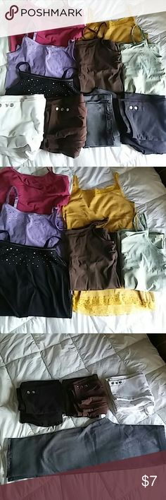 6 Tank top and 6 legging bundle The black, white, & brown leggings in 3rd pic all have gems at the bottoms of the legs, the black is missing 1. Dark gray leggings & black regular leggings are crop. Dark gray has lace.   All in girls sizes but I'm a small in tops & XS in pants & they still fit me. Green tank: XL. Brown tank: XXL. Yellow tank: XL. Black tank: XL. Purple tank: M. Pink tank: XL. White leggings: XL. Brown leggings: XL. Black gem leggings: XL. Dark gray leggings: L. Light gray…