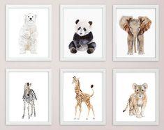 Baby Animal Nursery Art Prints modern minimalist nursery