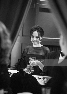 In this handout photo provided by Netflix, (Editors Note: Image has been converted to black and white) Angelina Jolie attends the Netflix Golden Globes after party at Waldorf Astoria Beverly Hills on January 7, 2018 in Beverly Hills, California.