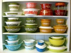 pantry of vintage pyrex