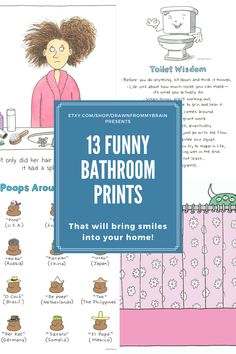 Add some humor to your bathroom with this collection of funny art prints! There's a full range of bathroom humor to choose from, including cute prints, weird art, and funny animal prints. Your bathroom interior will never be the same! They're also great for birthday gifts, dorm decor, and funny cubicle decor at the office. #etsy #bathroomart #bathroomdecor #bathroomideas #toilethumor