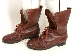vintage 40s 50s WW2 Korean War Era Russet Brown Cap Toe 12 Eyelet Military Combat Boots 8.5 EE 8 1/2 Wby wardrobetheglobe, $333.00