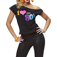 >> Click to Buy << Women's I Love The 80s T-Shirt Black off-shoulder T-shirt Retro Pop Star Fancy Dress Party Ladies Tee Top Sexy Summer T-shirt #Affiliate