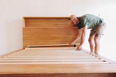 Al and Imo Custom Timber Furniture Tall Bookshelves, Custom Bookshelves, Timber Furniture, Pallet Furniture, Furniture Ideas, Diy Storage Headboard, Cama Design, Custom Bed Frame, Bookshelf Headboard
