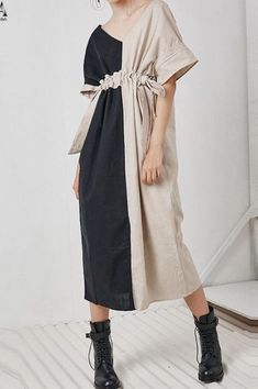Spring Linen Plaid Casual Loose Long Shirt Dress For Women Fashion Details, Love Fashion, Womens Fashion, Fashion Design, Fashion Trends, Lolita Fashion, Emo Fashion, Linen Dresses, Casual Dresses