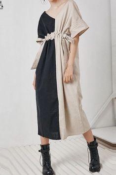 Spring Linen Plaid Casual Loose Long Shirt Dress For Women Fashion Details, Love Fashion, Womens Fashion, Fashion Design, Fashion Trends, Punk Fashion, Lolita Fashion, Linen Dresses, Cotton Dresses