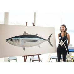 Dr Lindsay Marshall of Stickfigure Fish next to her large albacore. For sale with 20% benefitting the MSC Developing World program purchase at  http://www.stickfigurefish.com.au/