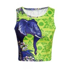 Trendy Elephant Kaleidoscope Pattern Round Neck Sleeveless Cropped... ($18) ❤ liked on Polyvore featuring tops, green top, green crop top, sleeveless tank tops, green camisole and camisole tank top