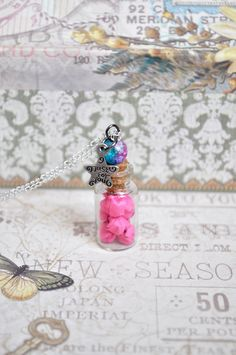 Wish star necklace - Bottle necklace - Origami star necklace - Lucky stars necklace - Cute necklace - Vial necklace - Bottle pendant