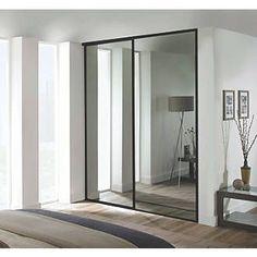 Spacepro Classic 2 Door Framed Sliding Mirror Wardrobe Doors Mirror 1489 x Bedroom Closet Design, Bedroom Wardrobe, Built In Wardrobe, Bedroom Decor, Sliding Mirror Wardrobe Doors, Mirror Door, Black Mirrored Wardrobe, Mirrored Bedroom Furniture, Home Decor